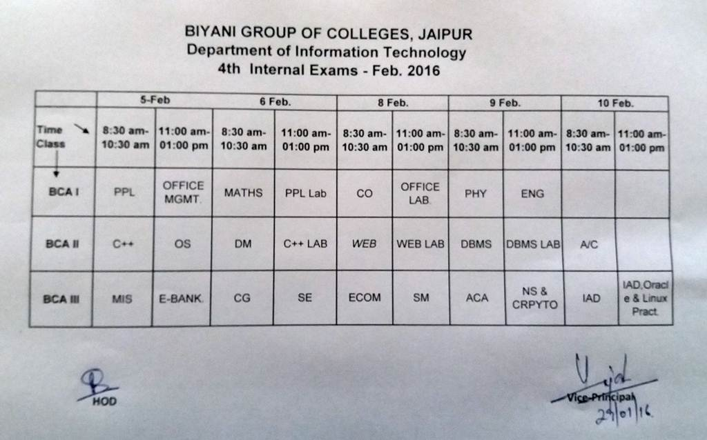 it internal exams