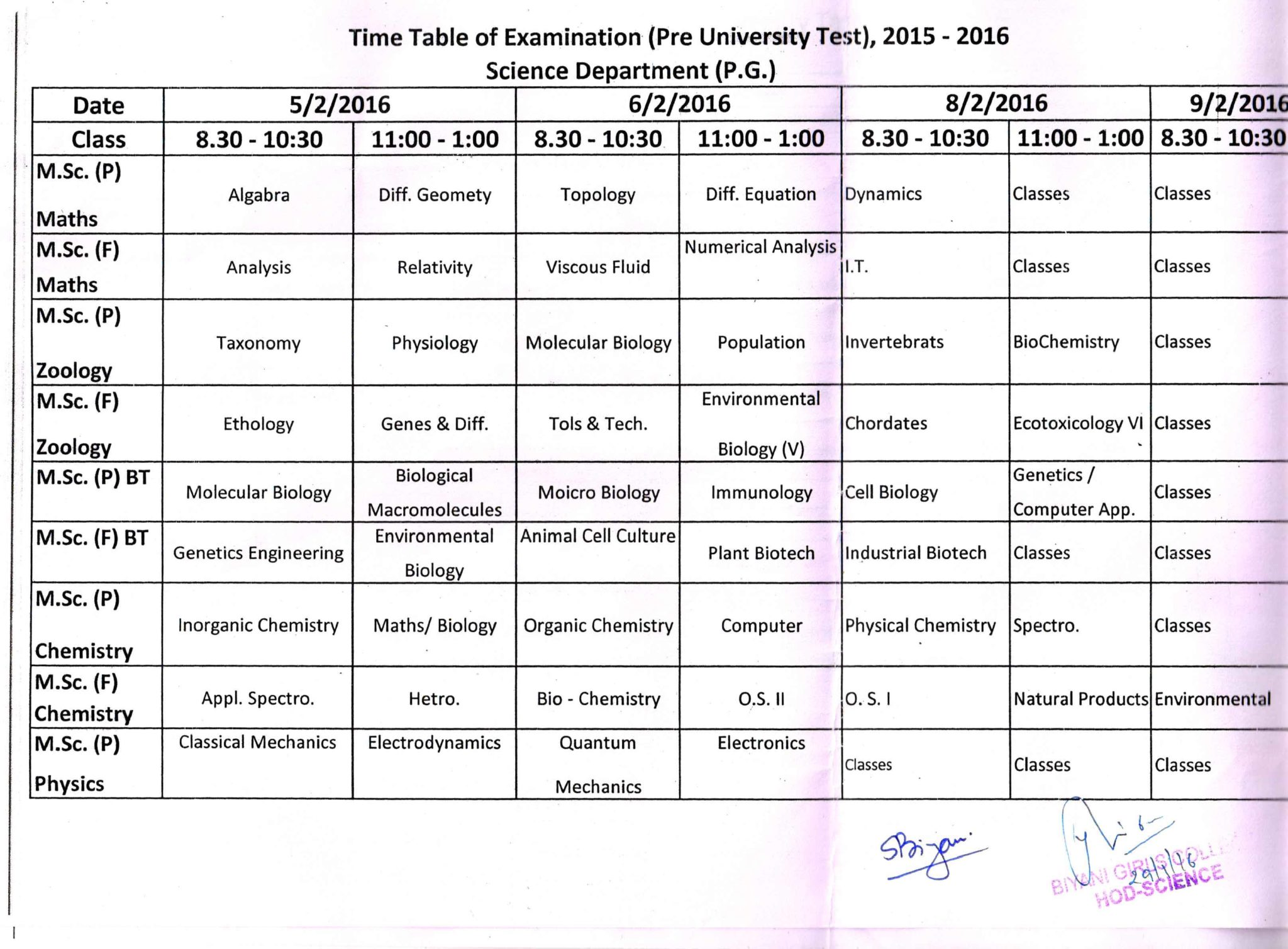 Pre University Test Time Table Science Department UG PG courses