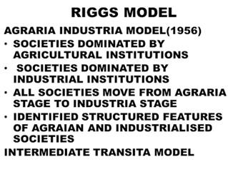Riggs' Ideal Model in Comparative Public Administration