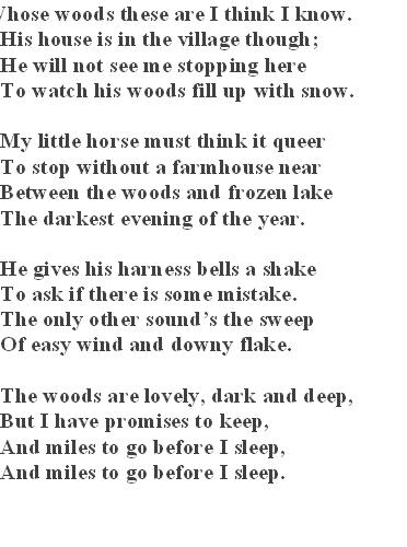 an examination of the poem stopping by woods on a snowy evening by robert frost In stopping by woods on a snowy evening, robert frost contemplates death the setting symbolizes death there's a frozen lake nearby a woods filled up with snow on the darkest evening of the year.