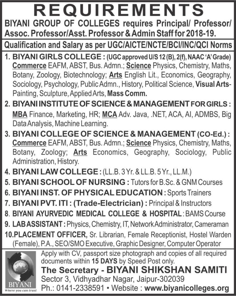biyani college jobs in jaipur