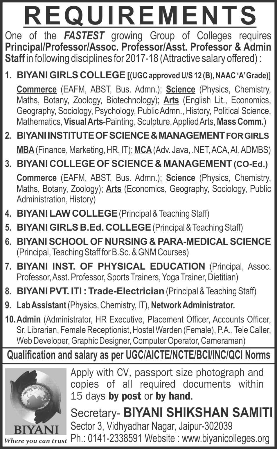 recruitments apply in biyani college jaipur biyani group of