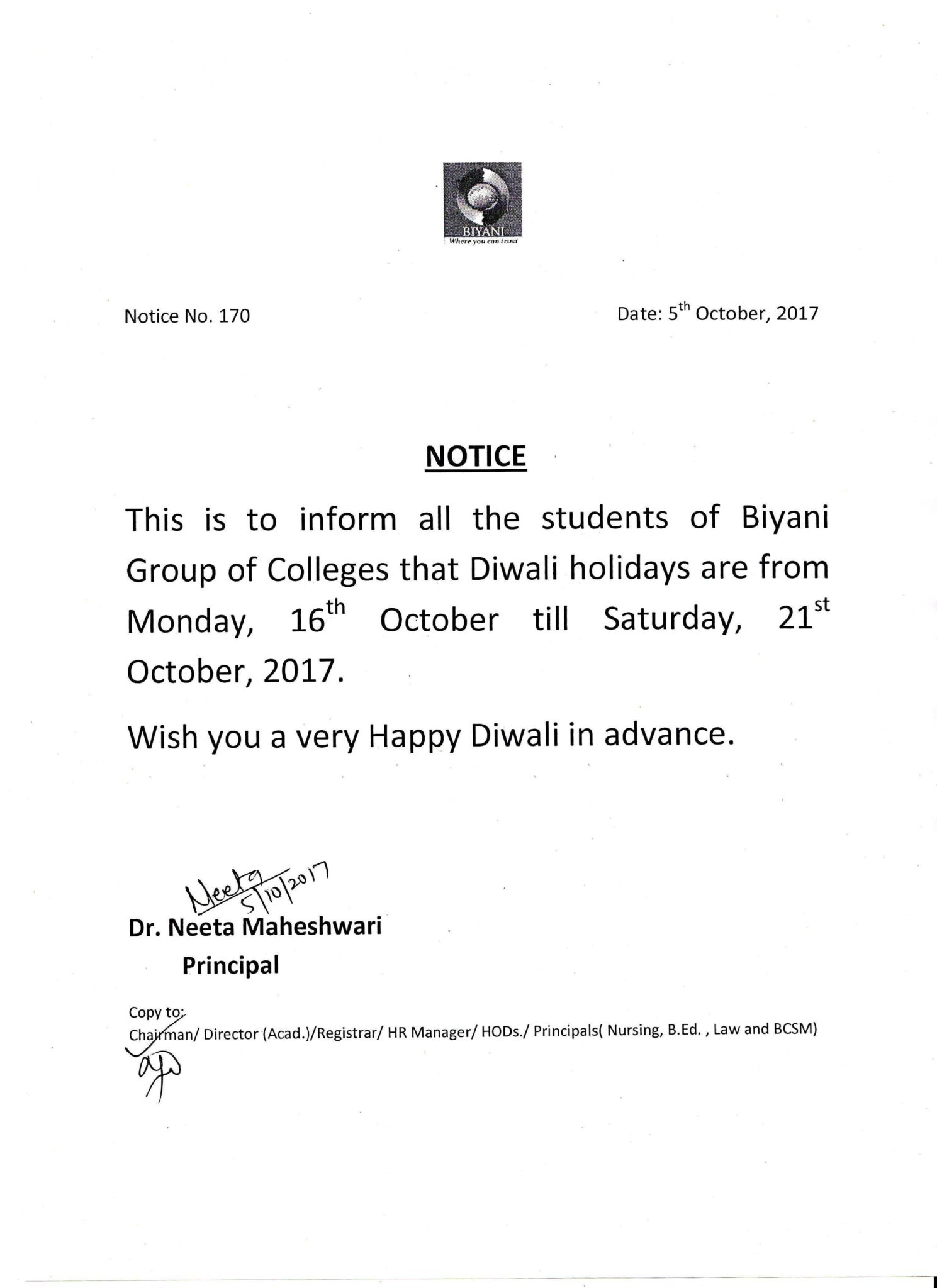 53 principal 05 oct 2017 regarding diwali holidays for students