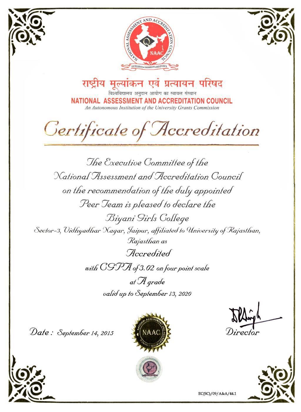 NAAC Certificate