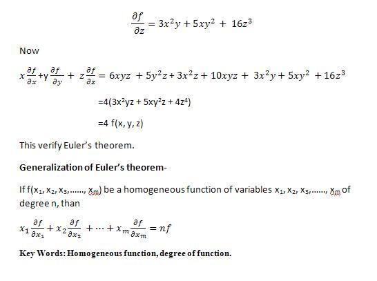 Euler's theorem defined on Homogeneous Function | Biyani